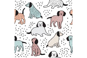 Childish seamless pattern with dogs