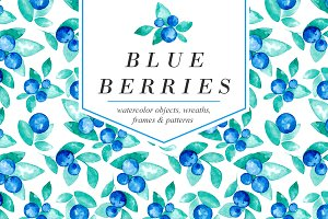 Blue Berries Watercolor Design Set