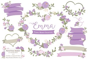 Lavender Flower Heart Clipart