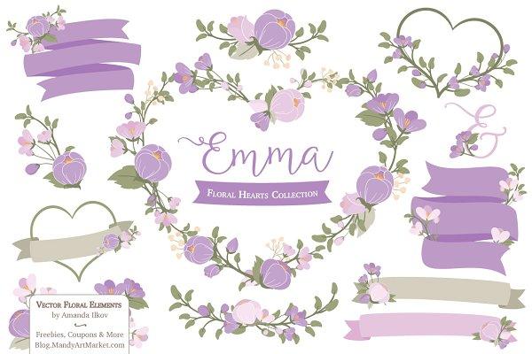 Lavender Flower Heart Clipart