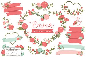 Mint & Coral Floral Heart Vectors