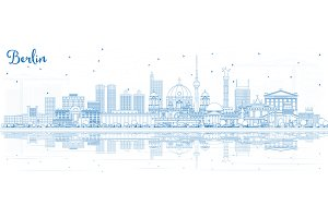 Outline Berlin Germany City Skyline