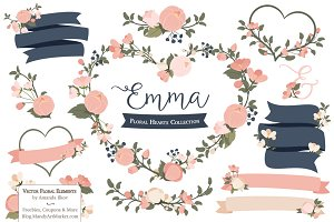 Navy & Blush Floral Heart Clipart