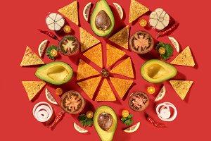 Mexican corn nachos chips, avocado