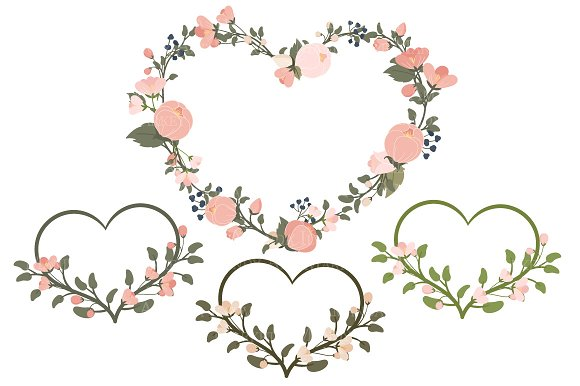 Navy Blush Floral Heart Clipart Illustrations Creative Market