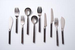 Set of vintage metal spoons, forks