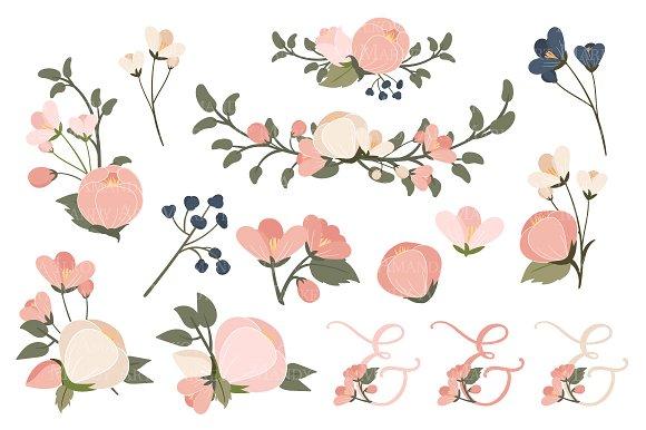 Navy blush floral heart clipart illustrations creative market mightylinksfo