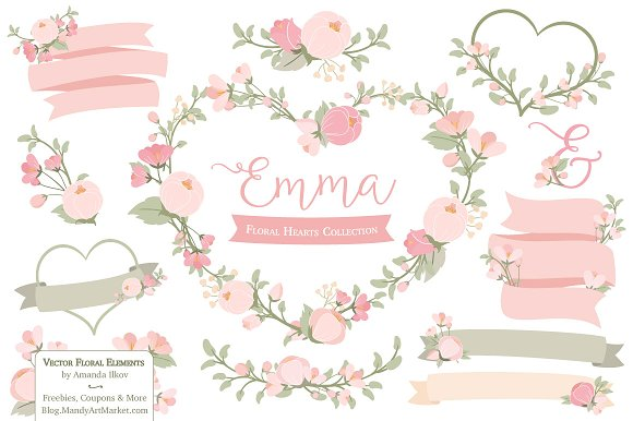 Soft pink floral heart wreath vector illustrations creative market mightylinksfo