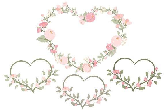 Soft pink floral heart wreath vector illustrations creative market mightylinksfo