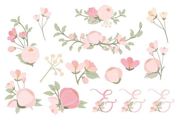 Soft Pink Floral Heart Wreath Vector Illustrations Creative Market