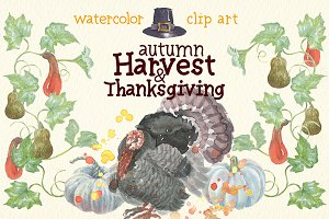 watercolor harvest&thanksgiving