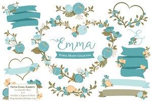 Vintage Blue Floral Heart Clipart
