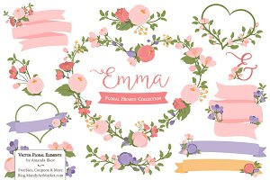 Wildflowers Heart Wreath Clipart