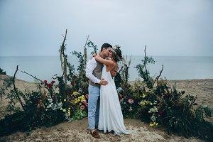 Beautiful couple on wedding ceremony