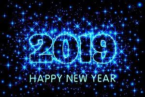 vector stars Happy New Year 2019