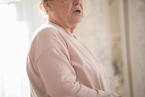An elderly caucasian woman in
