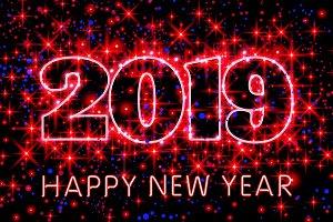Happy New Year 2019 vector stars