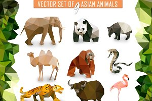 Vector set of Asian animals icons lo