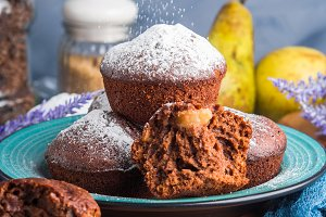 Chocolate muffins with pears and