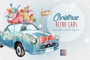Christmas retro cars clipart