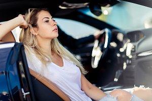 Portrait of blonde woman in