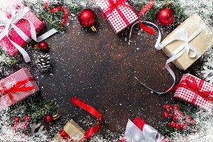 Christmas present box on dark