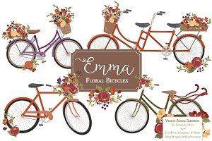Autumn Floral Bicycle Vectors