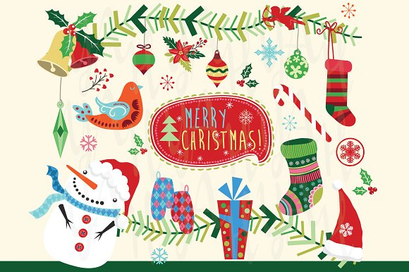 merry christmas happy new year set illustrations