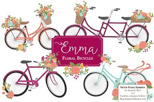 Bohemian Bicycles & Flowers Clipart