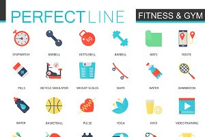 Sport & Fitness flat icons.