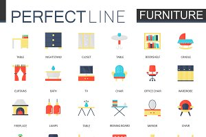 Interior furniture icons.