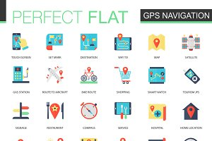 Location, GPS, map navigation icons