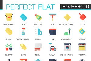 Vector set of flat Household icons.
