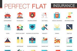 Vector set of flat Insurance icons