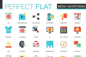 Media advertising flat icons