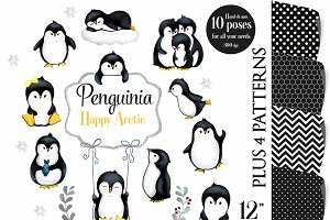 Penguin Clip Art, Watercolor Winter