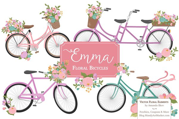Garden Party Floral Bicycles Clipar…
