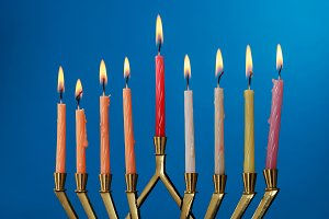 Burning hanukkah candles in menorah