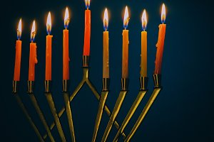 Hanukkah holiday burning candles