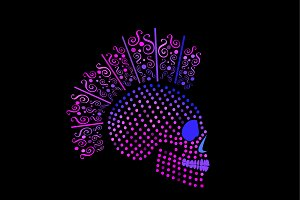 Punk skull purple dots