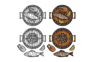 Barbecue grill top view with