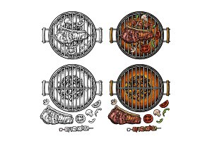 Barbecue grill top view charcoal