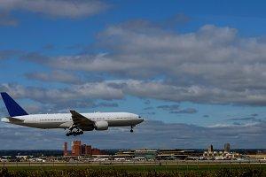 Airplane landing on the on runway