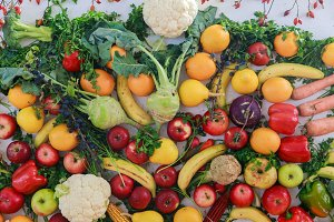 Rainbow colored fruits and vegetable