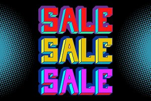 Sale black blue pop art background