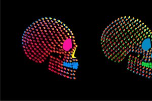 Neon fashion skulls side on