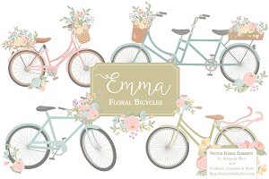 Pastel Floral Bicycle Vectors