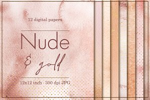 12 Gold and Nude digital papers
