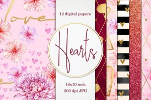 12 Valentines papers with hearts