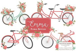 Mint & Coral Floral Bicycles